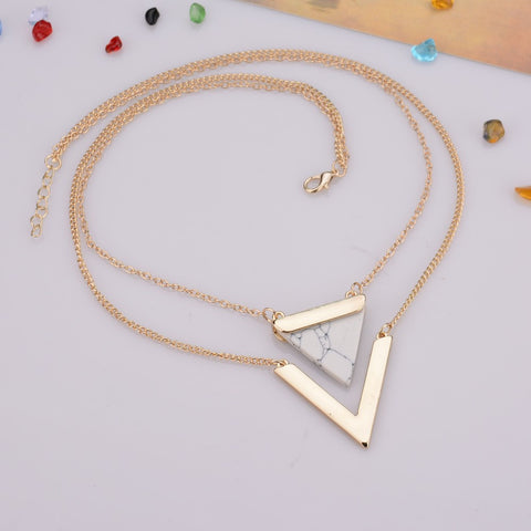 Lana Geometric Gold Howlite Necklace at MyBodiArt.com