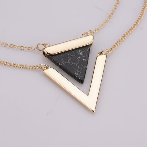 Lana Geometric Gold Black Marble Necklace at MyBodiArt.com