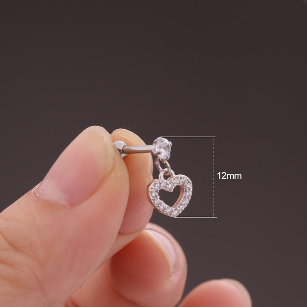 Cute Dangling Heart Charm Ear Piercing Jewelry Barbell Stud Ideas for Women in Silver - www.MyBodiArt.com
