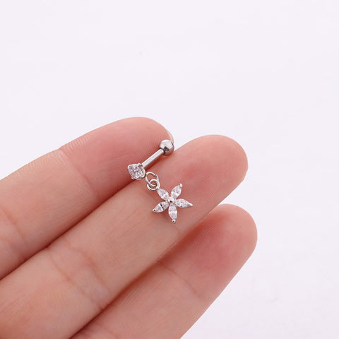 Cute Dangling Flower Charm Ear Piercing Jewelry Barbell Stud Ideas for Women in Silver - www.MyBodiArt.com