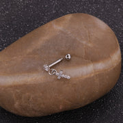 Cute Dangling Crown Charm Ear Piercing Jewelry Barbell Stud Ideas for Women in Silver - www.MyBodiArt.com