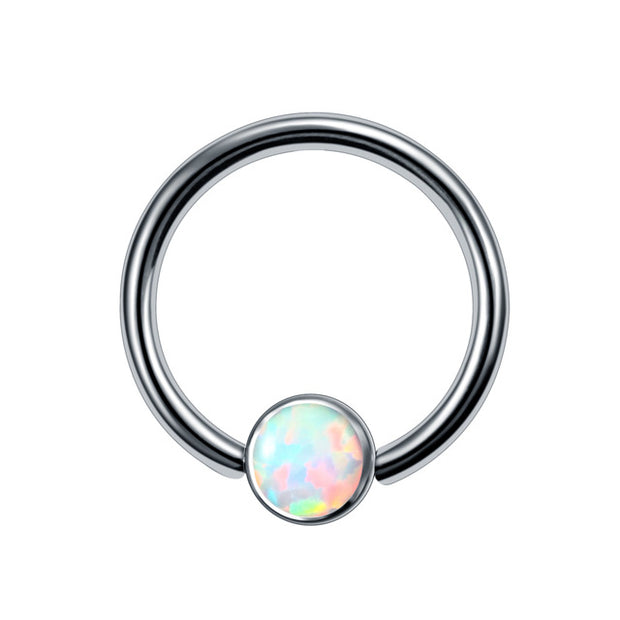 Cute Opal Captive Bead Ring Ear Piercing Septum Jewelry Ideas for Women for Cartilage Helix Daith Conch Rook Earring in Baby Blue Purple Emerald Opal- www.MyBodiArt.com