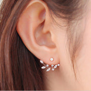 Minimalist Womens Earring Leaves Ear Jacket in Rose Gold at MyBodiArt.com