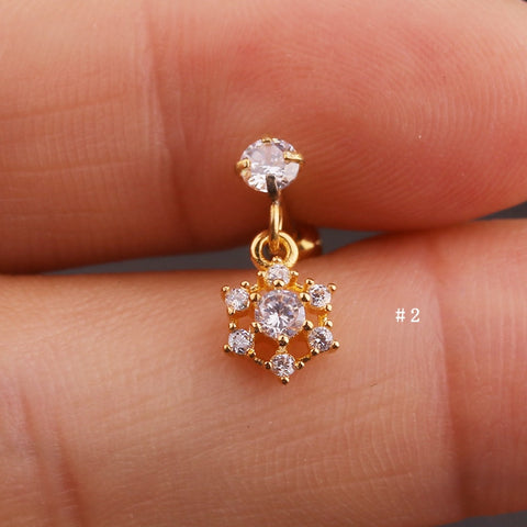 Cute Dangling Crystal Snowflake Charm Ear Piercing Jewelry Barbell Stud Ideas for Women in Gold 16G - www.MyBodiArt.com