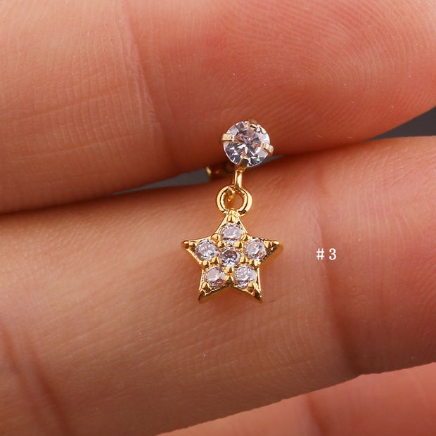 Cute Dangling Crystal Star Charm Ear Piercing Jewelry Barbell Stud Ideas for Women in Gold 16G - www.MyBodiArt.com