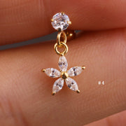 Cute Dangling Crystal Flower Charm Ear Piercing Jewelry Barbell Stud Ideas for Women in Gold 16G - www.MyBodiArt.com