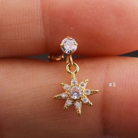 Cute Dangling Crystal Sun Charm Ear Piercing Jewelry Barbell Stud Ideas for Women in Gold 16G - www.MyBodiArt.com