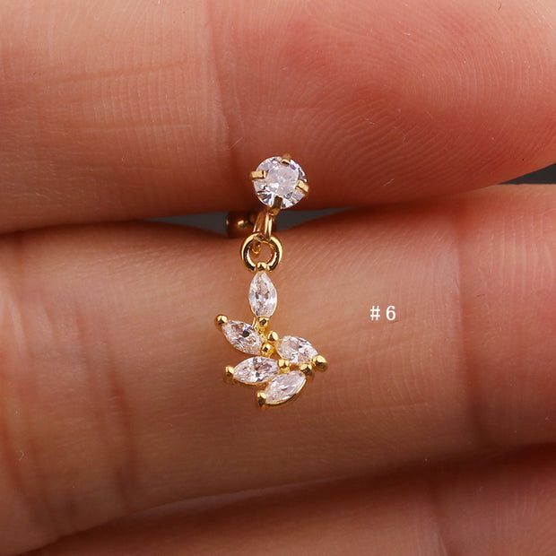 Cute Dangling Crystal Charm Ear Piercing Jewelry Barbell Stud Ideas for Women in Gold 16G - www.MyBodiArt.com