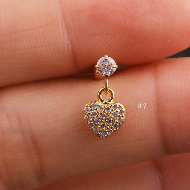 Cute Dangling Crystal Heart Charm Ear Piercing Jewelry Barbell Stud Ideas for Women in Gold 16G - www.MyBodiArt.com