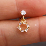 Cute Dangling Crystal Circle Charm Ear Piercing Jewelry Barbell Stud Ideas for Women in Gold 16G - www.MyBodiArt.com