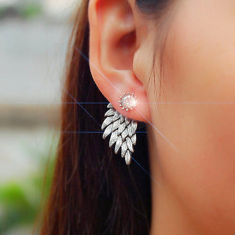 Angel Wings Ear Jacket Womens Earrings Jewelry in Silver - MyBodiArt.com