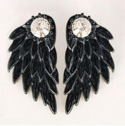 Black Earring Jacket Angel Wings at MyBodiArt.com