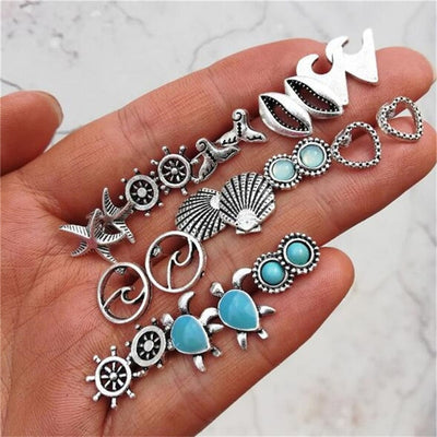 Cute Small Crystal Turquoise Earring Set Studs in Silver for Women Fashion Jewelry Turtle Sea Wave Seashell Rudder -  aretes de plata - www.MyBodiArt.com