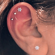 Unique Triple Cartilage Helix Ear Piercing Ideas Crystal Round Earring Stud 16G - www.MyBodiArt.com