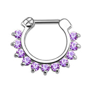 Brice Swarovski Crystal Septum Daith Clicker in Silver Ring Hoop Earring Jewelry 16G in Purple Crystal and Silver  - www.MyBodiArt.com