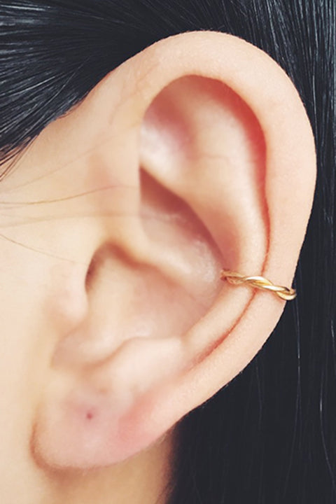 Small Minimal Ear Piercing Ideas Delicate Indie Earring Cuff Gold Conch Ring Hoop - www.MyBodiArt.com