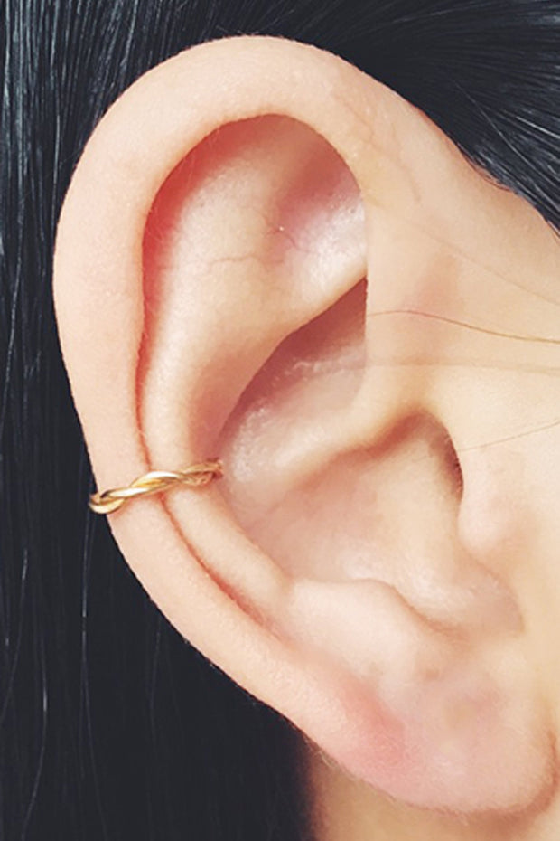 Small Minimalist Ear Piercing Ideas Delicate Boho Earring Cuff Gold Conch Ring Hoop - www.MyBodiArt.com