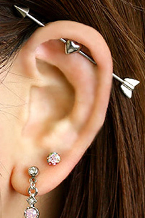 Unique Ear Piercing ideas - Ideas Para Perforar Orejas - Silver Heart Arrow Industrial Barbell Earring - Double Lobe Studs - www.MyBodiArt.com