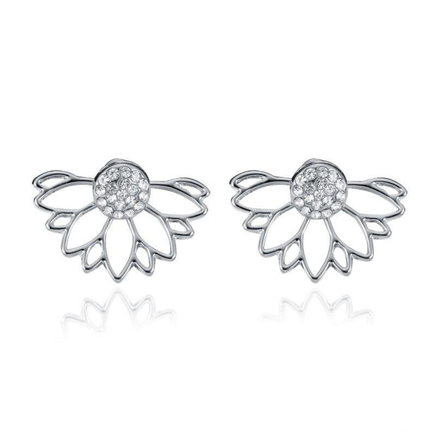 Popular Silver Lotus Flower Earring Jacket for Women at MyBodiArt.com