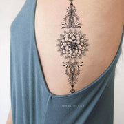 Tribal Boho Black Lotus Mandala Rib Side Temporary Tattoo Ideas for Women - www.MyBodiArt.com #tattoos