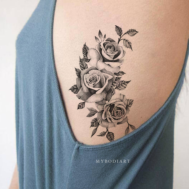 Small Vintage Black Rose Outline Rib Floral Flower Temporary Tattoo Ideas for Women -  Ideas de tatuaje de costilla rosa para mujeres - www.MyBodiArt.com #tattoos