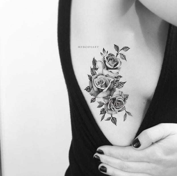 Vintage Black and White Floral Flower Rose Side Rib Temporary Tattoo Ideas for Women -  Ideas de tatuaje de costilla rosa para mujeres - www.MyBodiArt.com #tattoos