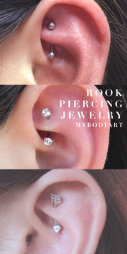 Rook Piercing Jewelry Cute and Simple Ear Piercing Ideas for Minimalists Women Teens Crystal Curved Barbell Earring 16G - www.MyBodiArt.com #earrings
