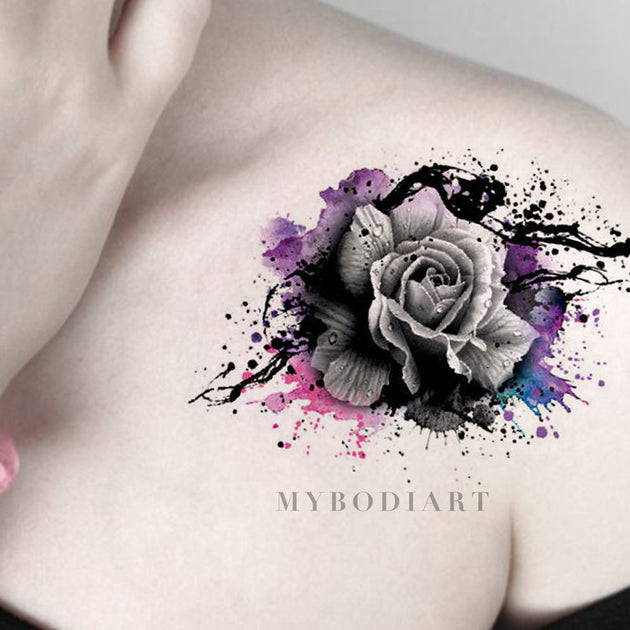 Brooke Cool Watercolor Splat Black Floral Rose Temporary Tattoo