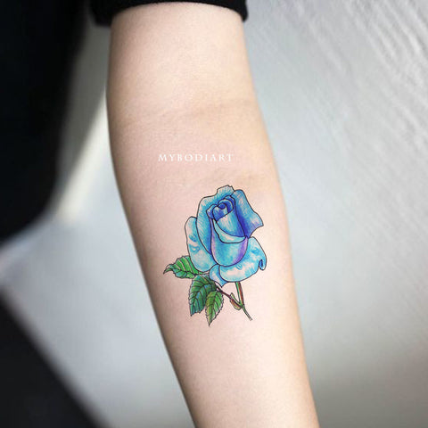 Cute Watercolor Neowork Blue Rose Floral Flower Forearm Tattoo Ideas for Women -  Ideas de tatuaje de antebrazo rosa azul para mujeres - www.MyBodiArt.com #tattoos