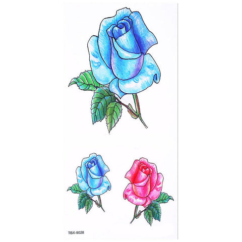 Sandra Neo Linework Red & Blue Floral Rose Flower Temporary Tattoo