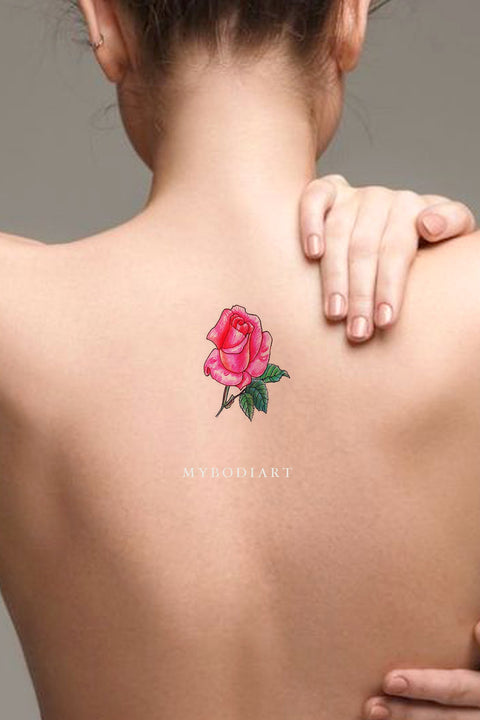 Cute Small Pink Watercolor Rose Flower Back Tattoo Ideas for Women -  ideas de tatuajes de rosas rojas para mujeres - www.MyBodiArt.com #tattoos