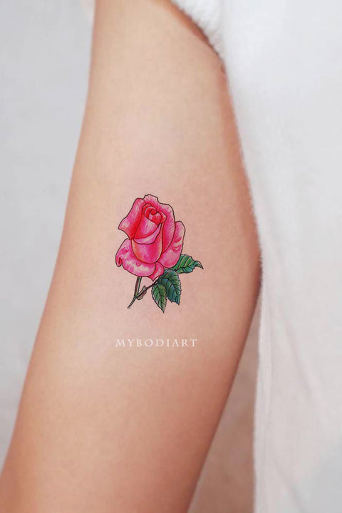 Cute Small Tiny Watercolor Pink Rose Floral Flower Arm Tattoo Ideas for Women -  pequeñas ideas de tatuaje de brazo rosa de acuarela - www.MyBodiArt.com #tattoos