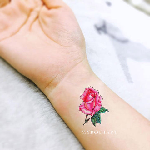 Cute Small Watercolor Rose Wrist Arm Tattoo Ideas for Women -  pequeñas ideas de tatuaje de muñeca rosa acuarela - www.MyBodiArt.com #tattoos