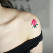 Cute Small Pink Watercolor Floral Flower Shoulder Tattoo Ideas for Women - pequeñas ideas de tatuaje de hombro de rosa de acuarela - nwww.MyBodiArt.com #tattoos