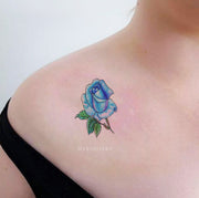 Cute Small Blue Watercolor Floral Flower Shoulder Tattoo Ideas for Women - pequeñas ideas de tatuaje de hombro de rosa de acuarela - nwww.MyBodiArt.com #tattoos