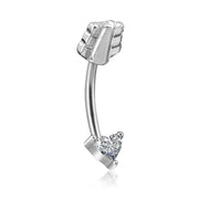 Swarovski Crystal Arrow Heart Rook Ear Piercing Jewelry Earring Eyebrow Ring for Women - www.MyBodiArt.com
