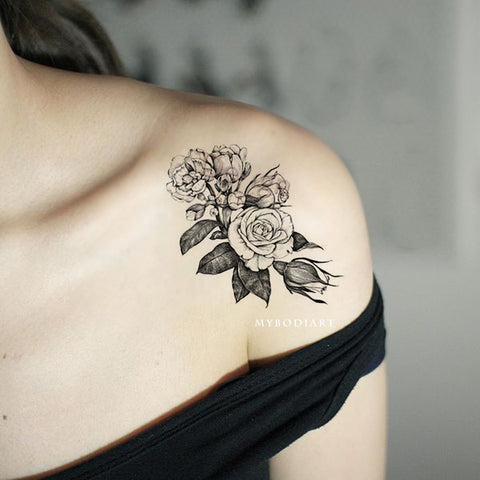 Vintage Black Rose Outline Shoulder Tattoo Ideas for Women -  ideas de tatuaje de hombro rosa- www.MyBodiArt.com #tattoos