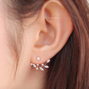 Cute Crystal Leaf Ear Jacket Earrings Fashion Jewelry for Women in Silver, Gold, Rose Gold -  lindos pendientes de hojas - www.MyBodiArt.com