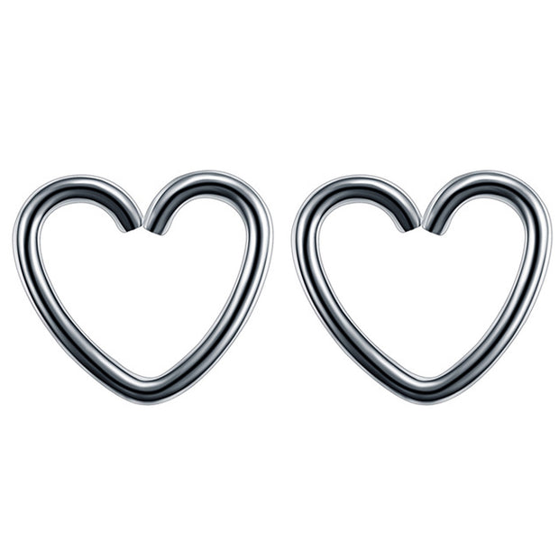 Soul Wired 16G Heart Ear Piercing in Silver for Rook Daith Cartilage Tragus Helix Pinna Auricle Conch Piercing Earring at MyBodiArt.com