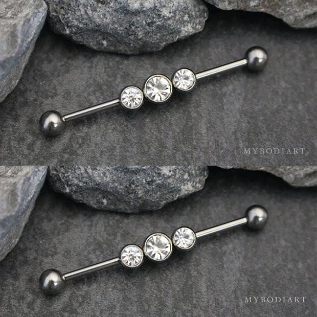 Cute Triple Crystal Industrial Ear Piercing Jewelry Barbell Earring Cartilage - www.MyBodiArt.com