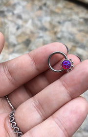 Cartilage Ear Piercing Jewelry Earrings - Tribal Boho Purple Opal Captive Bead Ring 16G - www.MyBodiArt.com