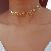 Simple Layered Double Dainty Choker Necklace for Teens in Gold -  collar de gargantilla de oro simple - www.MyBodiArt.com
