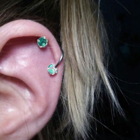 Cute Cartilage Helix Ear Piercing Ideas Green Crystal Spiral Piercing Ring Earring Jewelry - www.MyBodiArt.com