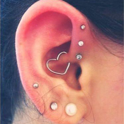 Cute Daith Heart Ear Piercing Ideas for Women Wired 16G Silver Earring Jewelry -  lindas ideas para perforar orejas para mujeres - www.MyBodiArt.com