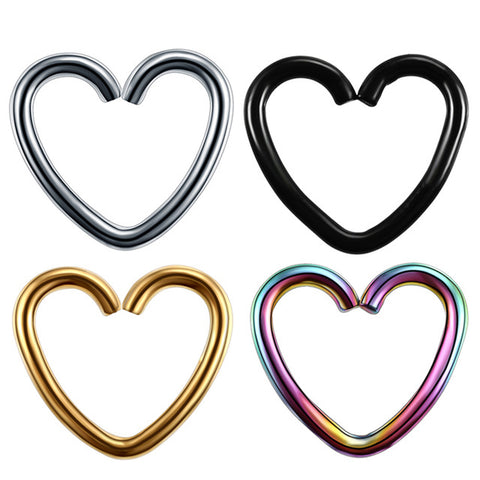 Soul Wired 16G Heart Ear Piercing in Silver, Gold, Black, Rainbow for Rook Daith Cartilage Tragus Helix Pinna Auricle Conch Piercing Earring at MyBodiArt.com