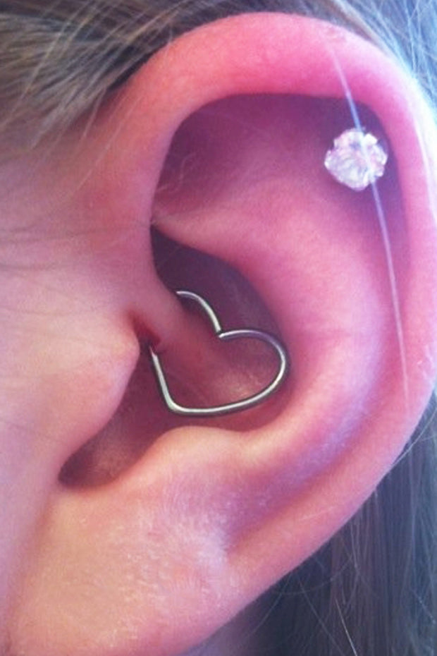 Cute Heart Daith Piercing Jewelry Unusual Unique Ear Piercing Ideas for Teens - www.MyBodiArt.com