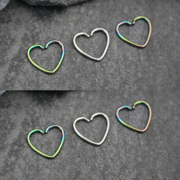 Soul Wired 16G Heart Ear Piercing in Silver and Rainbow for Rook Daith Cartilage Tragus Helix Pinna Auricle Conch Piercing Earring at MyBodiArt.com