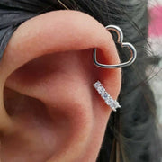 Cute Unique Heart Cartilage Ear Piercing Jewelry Ideas for Women Wired Silver Metal Helix Earrings -  Ideas de perforación de orejas de cartílago lindo para mujeres - www.MyBodiArt.com