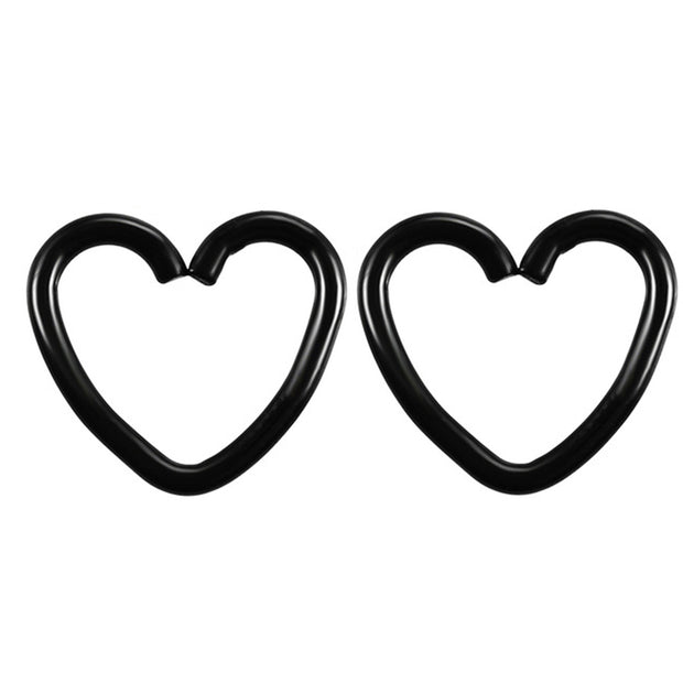 Soul Wired 16G Heart Ear Piercing in Black for Rook Daith Cartilage Tragus Helix Pinna Auricle Conch Piercing Earring at MyBodiArt.com