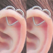 Cute Heart Wired Helix Cartilage Ear Piercing Ideas for Women - www.MyBodiArt.com